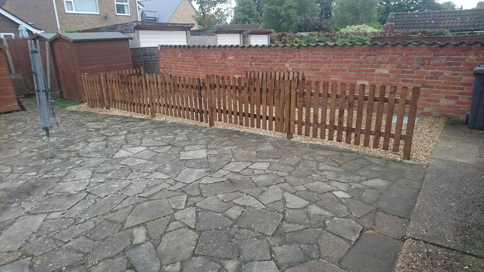 new back garden patio carried out in Boston