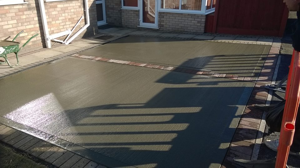 newly laid concrete driveway in Heckington